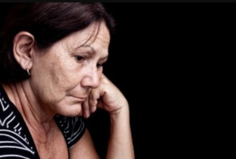 Elderly woman suffering from depression